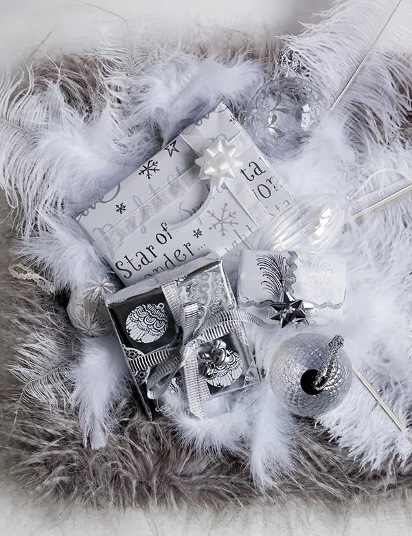 marks and spencer christmas 2013 feathers and silver theme gift wrap