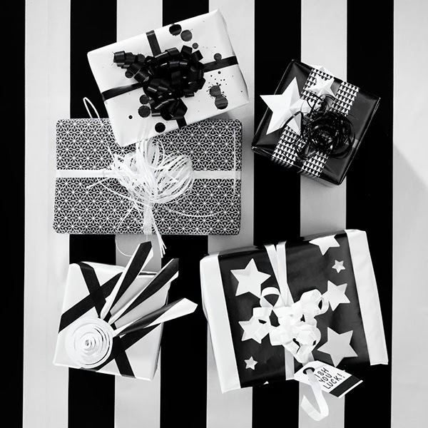 Christmas Gift wrap Ideas from Panuro Hobby  black and white