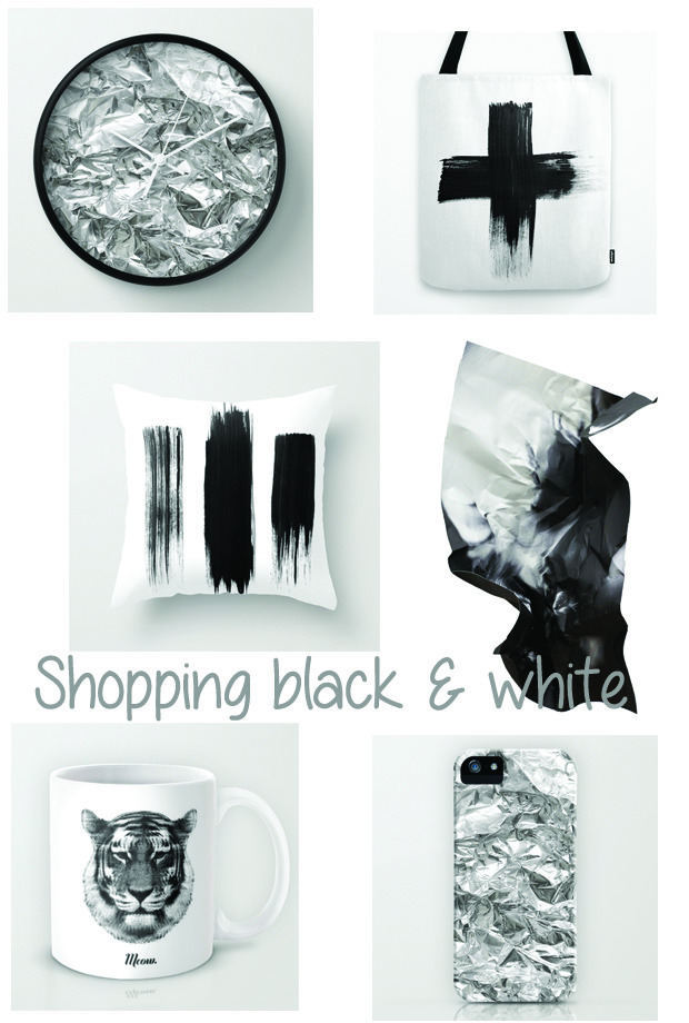 black and white shopping