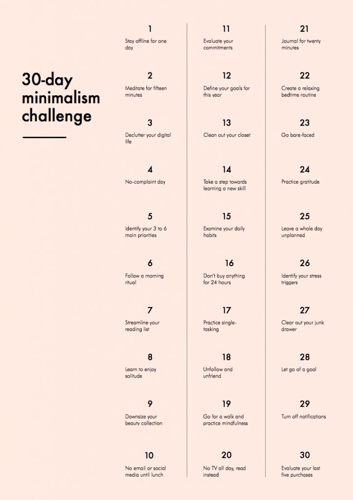 30-day minimalism challenge